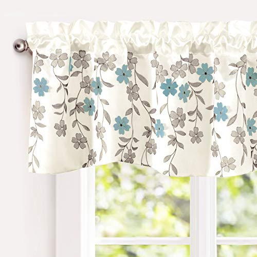 """DriftAway Isabella Faux Silk Embroidered Kitchen Swag Valance, Embroidered Crafted Flower, Single, 60""""x18""""+1.5"""" Header(Ivory/Blue)"""