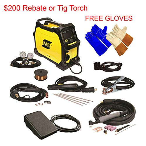 ESAB Rebel EMP 215ic MIG/Stick/Tig Welding Machine. Comes with Foot Control, 2 Gloves, AND $100 Rebate