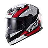 LS2 Stream Omega Full Face Motorcycle Helmet With Sunshield (Red, X-Large)