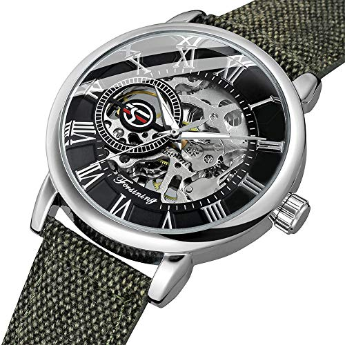 Mens Watch,STONE Manual Mechanical Watch Roman Numberal Hand-Wind Wrist Watch with Leather Band