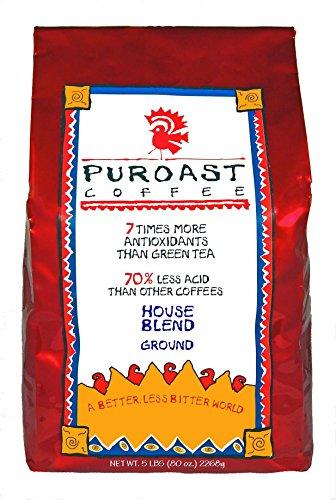 Puroast Low Acid Coffee Organic House Blend Drip Grind, 5-Pound Bag