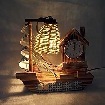 Velero de madera Lámpara de mesa con reloj creativo romántico Dormitorio Decoración joyas artesanal Francesa