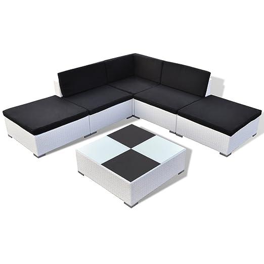 Festnight 15 piezas Conjunto de Modular de Poli Ratán para Jardín Patio Set de Mueble Color Blanco