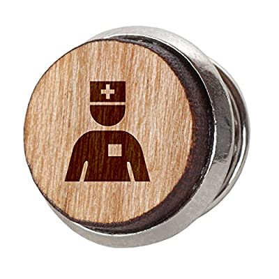 Nurse Stylish Cherry Wood Tie Tack- 12Mm Simple Tie Clip with Laser Engraved Design - Engraved Tie Tack Gift