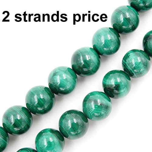 Precious Gemstone Beads for Jewelry Making, 100% Natural AAA Grade, Sold per Bag 2 Strands Inside (Malachite, 4mm)