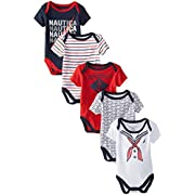 Nautica Baby-Boys Newborn 5 Pack Printed Bodysuit, Assorted, 0-3 Months