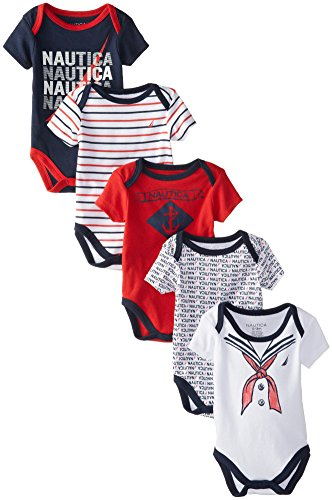 Nautica Baby-Boys Newborn 5 Pack Sailor Bodysuit, Assorted, 6-9 Months
