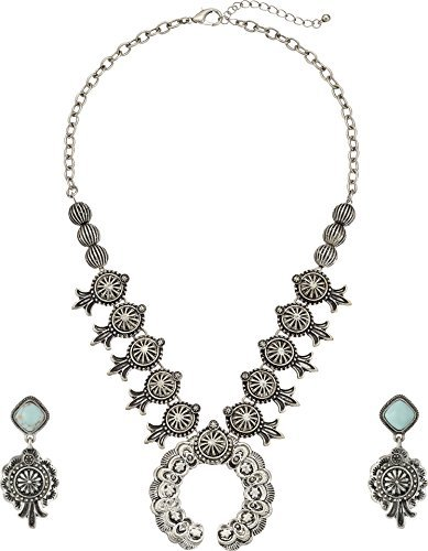 (M&F Western Women's Etched Squash Blossom Necklace/Earrings Set Silver One)