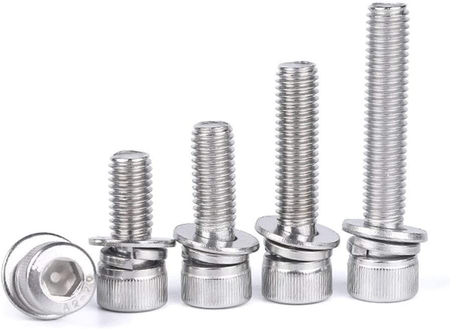 Color : 10mm, Size : M3 10sets Tap Bolts M3 M4 Stainless Steel 304 Cup Head Hexagonal Bolt Screw Nut Gasket Set Large Full-body Pad Combination Screws