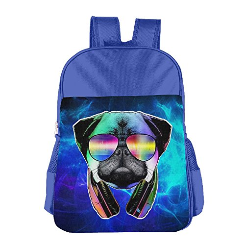 [DJ Pug Dog With Headphones Sunglasses Print School Backpacks For Girls Boys Kids Elementary School Bags Bookbag] (Best Mark Of The Ninja Costume)
