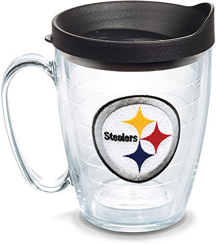 (Tervis 1062491 NFL Pittsburgh Steelers Primary Logo Tumbler with Emblem and Black Lid 16oz Mug, Clear)