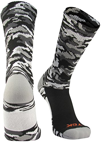TCK Sports Elite Woodland Camo Crew Socks, Black, Medium (Spandex Woodland Shorts)