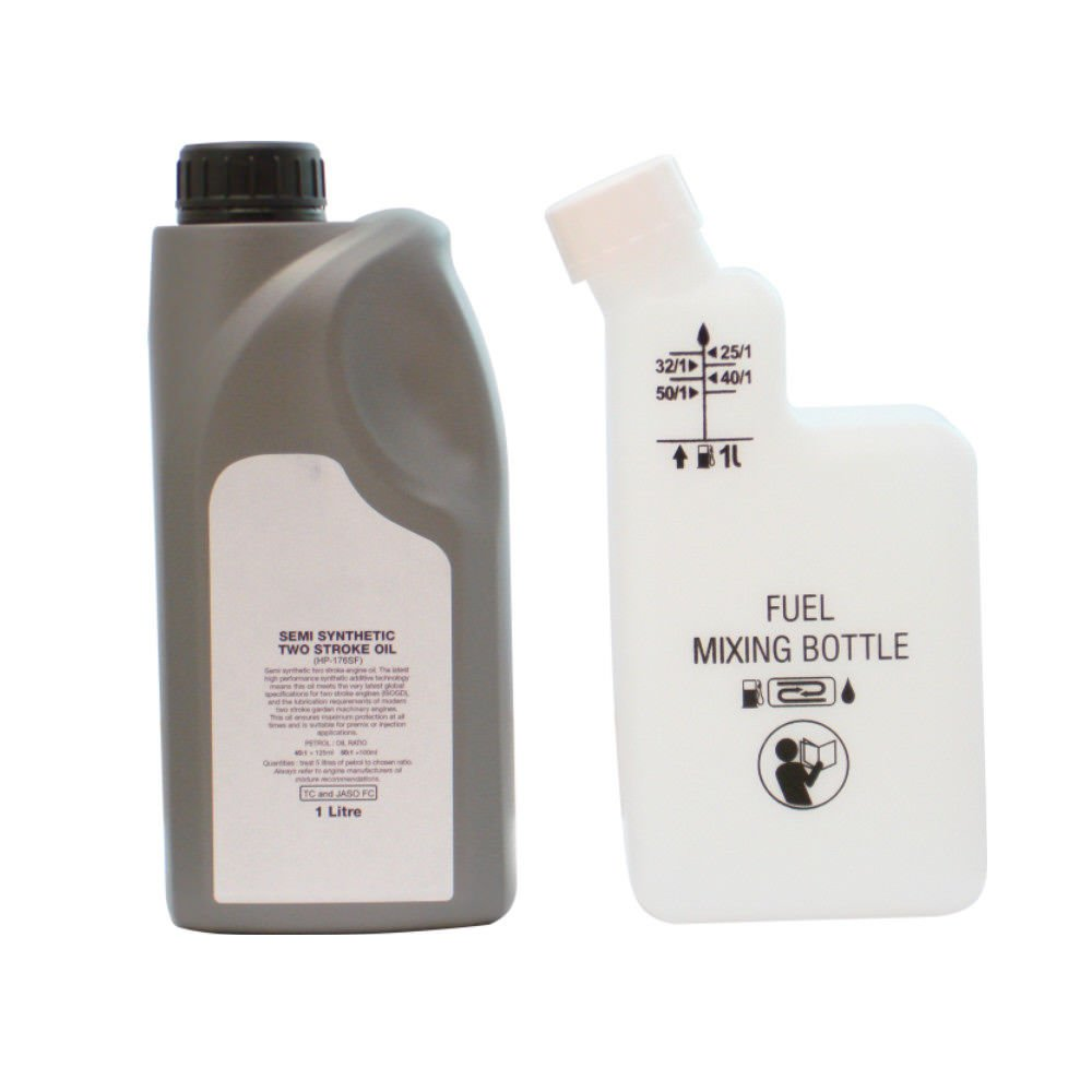 1 Litre Of 2 Stroke Oil & Fuel Petrol Mixing Bottle For Strimmer 25:1 40:1 50:1 Rocwood