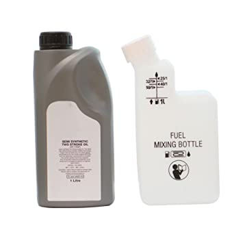 Botella de 1 L de aceite de 2 tiempos y mezcla de combustible Gasolina para cortacésped