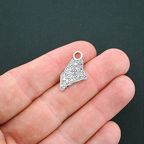 - 8 Maine State Charms Antique Silver Tone - SC4764 Jewelry Making Supply Pendant Bracelet DIY Crafting by Wholesale Charms