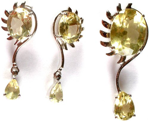 (Fine Cut Lemon Topaz Pendant with Earrings Set - Sterling Silver)