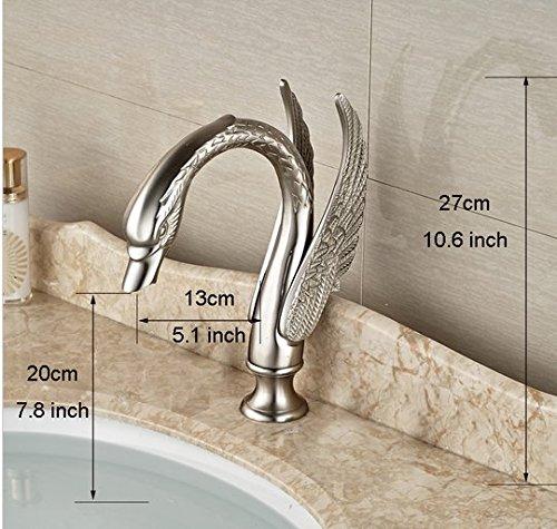 GOWE Brushed Nickel Deck Mount Bathroom Basin Sink Faucet Dual Handle 3 Holes Hot Cold Mixer Taps 5
