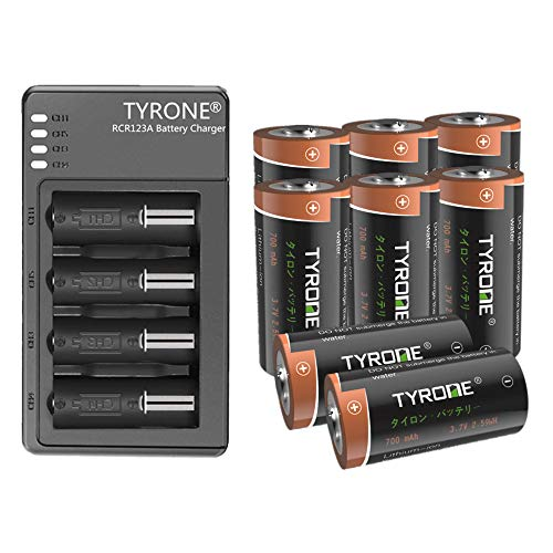 RCR123A Rechargeable Batteries Compatible Arlo Wireless Cameras and Flashlight, Tyrone 8 Pack 3.7V CR123A Batteries with Charger (8 Pack with Charger)