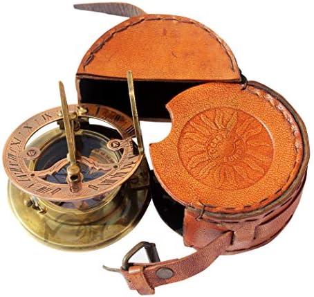 MAH Handmade Brass Sundial Compass Beautiful Gift Item with Leather Box. C-3058