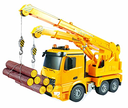 Large 16 Inch Rc Mercedes Benz Actros Crane Heavy Construction Truck Remote Control 1:18 6 Channel w/ Extending Crane w/ Flashing Emergency Lights and Sound
