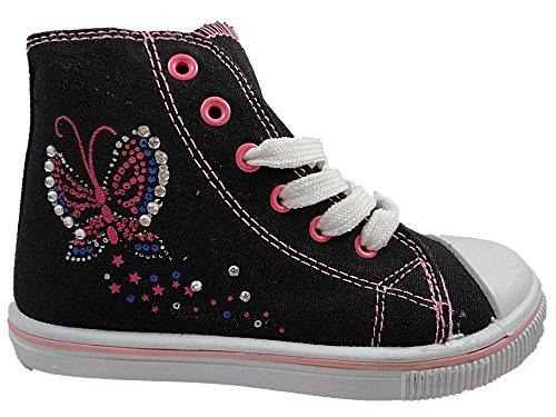 Mädchen Schwarz Chatterbox Hi High-Tops Schmetterling mit Leinwand Stiefelette Schuhe Schwarz