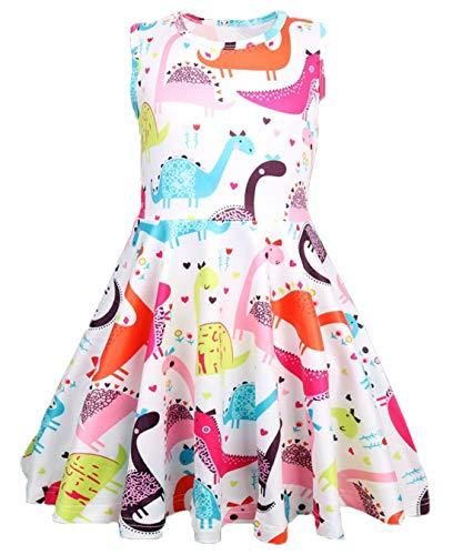 lymanchi Girl Summer Sleeveless Dress Round Neck Animal Printed A-Line Sundress 732 140cm