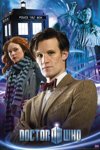 Doctor Who The Doctor and Amy (TARDIS, Weeping Angels) TV Television Show Poster Print 24x36