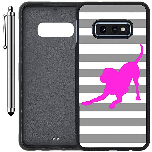 Custom Case Compatible with Galaxy S10e (5.8 inch) (Striped Lab Gray White Pink) Edge-to-Edge Rubber Black Cover Ultra Slim | Lightweight | Includes Stylus Pen by Innosub ()