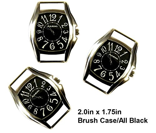 Silver Interchangeable Beaded Watch - TVT 2pcs Rectangle Watch Faces for Your Interchangeable Beaded Bands TVT-3382-2 (2pcs All Black)
