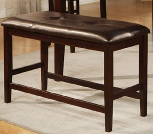 Amazon Counter Height Bench with Tufted-Butto in Brown Finish