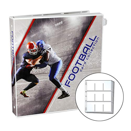 UniKeep Football Themed Trading Card Collection Binder with 25 Platinum Series Trading Card Pages Case Features Metal Rings and a Fully Enclosed Case with Locking Latch