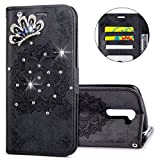IKASEFU LG K8 Case,3D Clear Crown Rhinestone Diamond Bling Glitter Wallet with Card Holder Emboss Mandala Floral Pu Leather Magnetic Flip Case Protective Cover for LG K8,Black