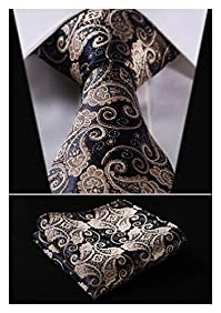 HISDERN Extra Long Floral Paisley Tie Handkerchief Men's Necktie & Pocket Square Set