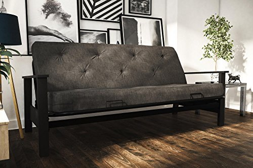 DHP Bergen Convertible Futon with 6-inch Coil Mattress, Grey Linen
