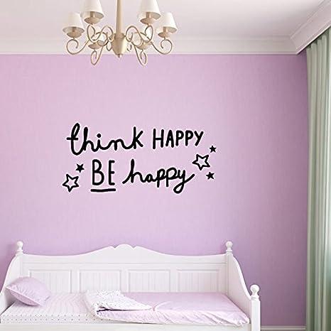 Think Happy Be Happy Citation Stickers Muraux Avec étoiles Amazon