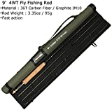 AnglerDream Archer Fly Fishing Rod 4 Section 3 / 4 / 5 / 8WT Fast Action Dark Green Fly Rod Graphite IM 10 / 36T Carbon Fiber Fly Rod CNC Machined Golden Aluminum Reel Seat with Cordura Cloth Tube