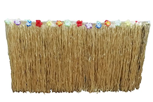 Straw color Hawaiian Luau Silk Faux Flowers Table Hula Grass Skirt for Party Decoration, Events, Birthdays, Celebration(wide 2.5 ft x Long 9 ft ) -