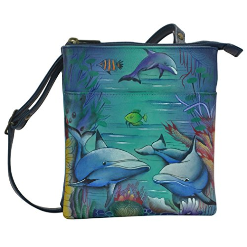 Anuschka Hand Painted Leather Rfid Blocking Triple Compartment, Dolphin - Painted Dolphin Hand