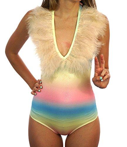 Feather Trim Tank (Shop Delfina Women's Multicolored Feather Trim V-Neck Festival Halter Top Bodysuit (Small))