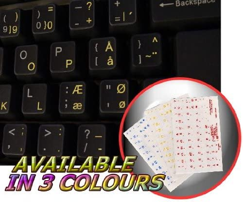 4Keyboard Danish Keyboard Stickers with Yellow Lettering ON Transparent Background
