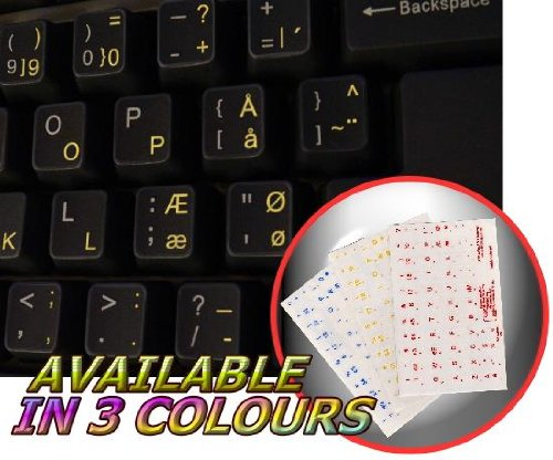 DANISH KEYBOARD STICKERS WITH YELLOW LETTERING ON TRANSPARENT BACKGROUND ()