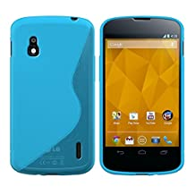 kwmobile TPU SILICONE CASE for LG Google Nexus 4 Design S Line blue transparent - Stylish designer case made of premium soft TPU