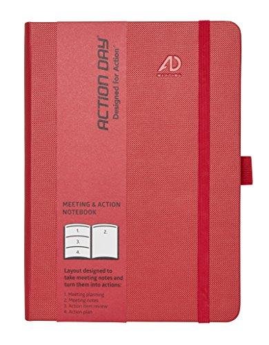 Action Day Meeting Notebook - Designed to take Meeting Notes and turn them into actions (6x8, Thread-Bound, Red)