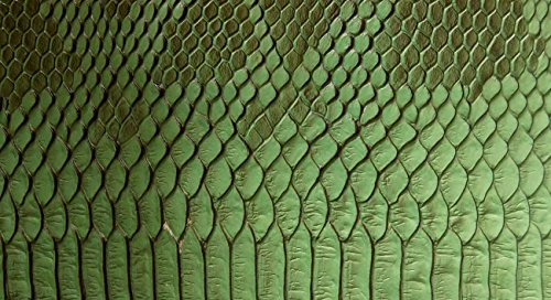 Snake Textured Leather Green Fabric product image