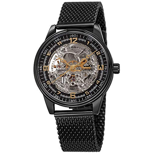 Akribos Xxiv Mens Automatic Watch - Akribos Automatic Skeleton Mechanical Men's Watch - Luxury Professional Mesh Bracelet See Through Dial - IP Case with A Skeletonized Dial - AK1074BK (Black On Black Band)