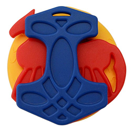 Blue/Red/Yellow Set of Viking Silicone Baby Teething Toys