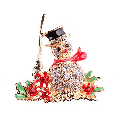 (Deniferymakeup Christmas Vintage Cartoon Rhinestone Brooch Snowman Broom Pins Snowman Rhinestone Christmas Pins Collar Pins Sweater Suit Red White Strips Christmas Ornament (Black Hat) )