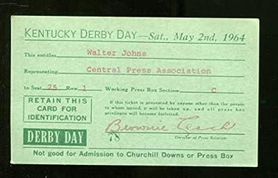 1964 Kentucky Derby Press Pass Ticket 5/2/64 Northern Dancer Hartack Ex 23198