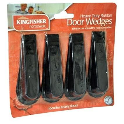 Pack of 4 Rubber Door Stop Wedges Black