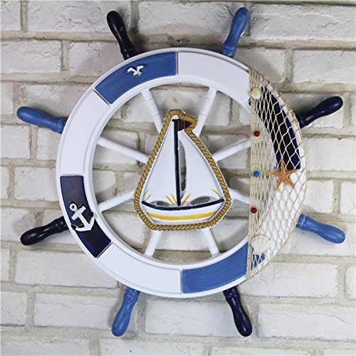 Helmsman Hanging (SU@DA 62cm Mediterranean helmsman rudder wall hanging ornament steering wheel roulette bar wall , 62cm)